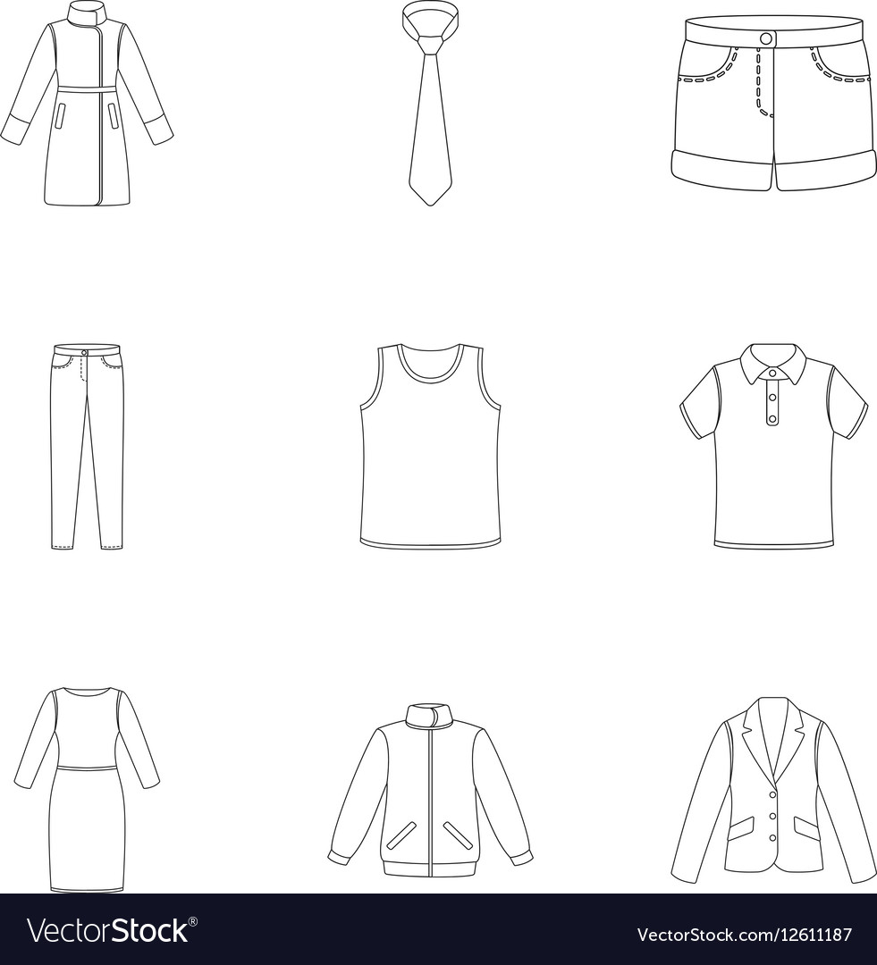 Clothes set icons in outline style Big collection