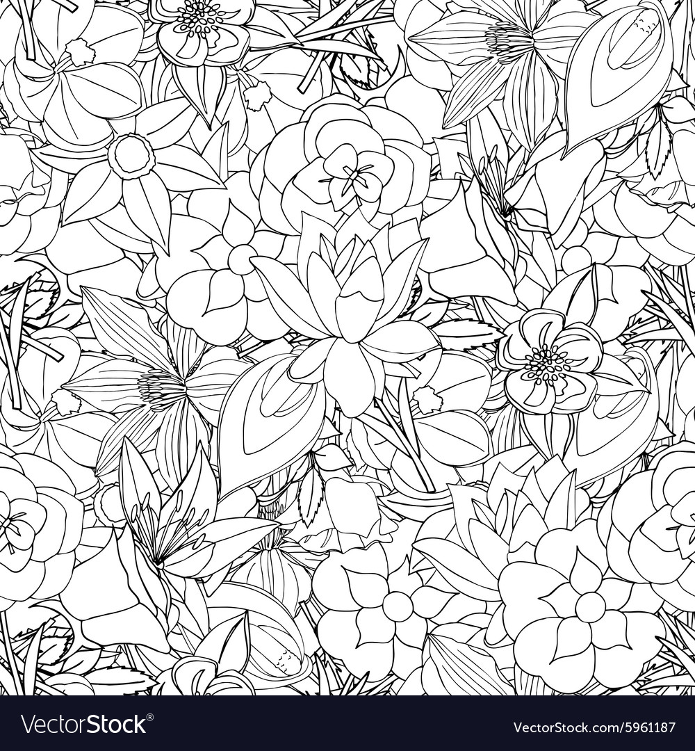 Floral seamless pattern background with leaves