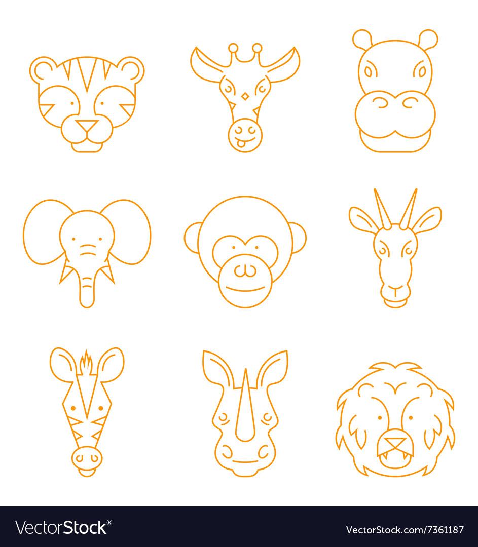 Line african animals icon set