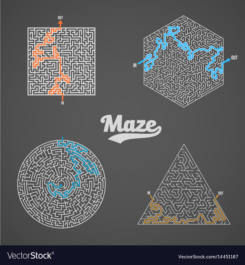Maze labyrinth greek puzzle challenge set