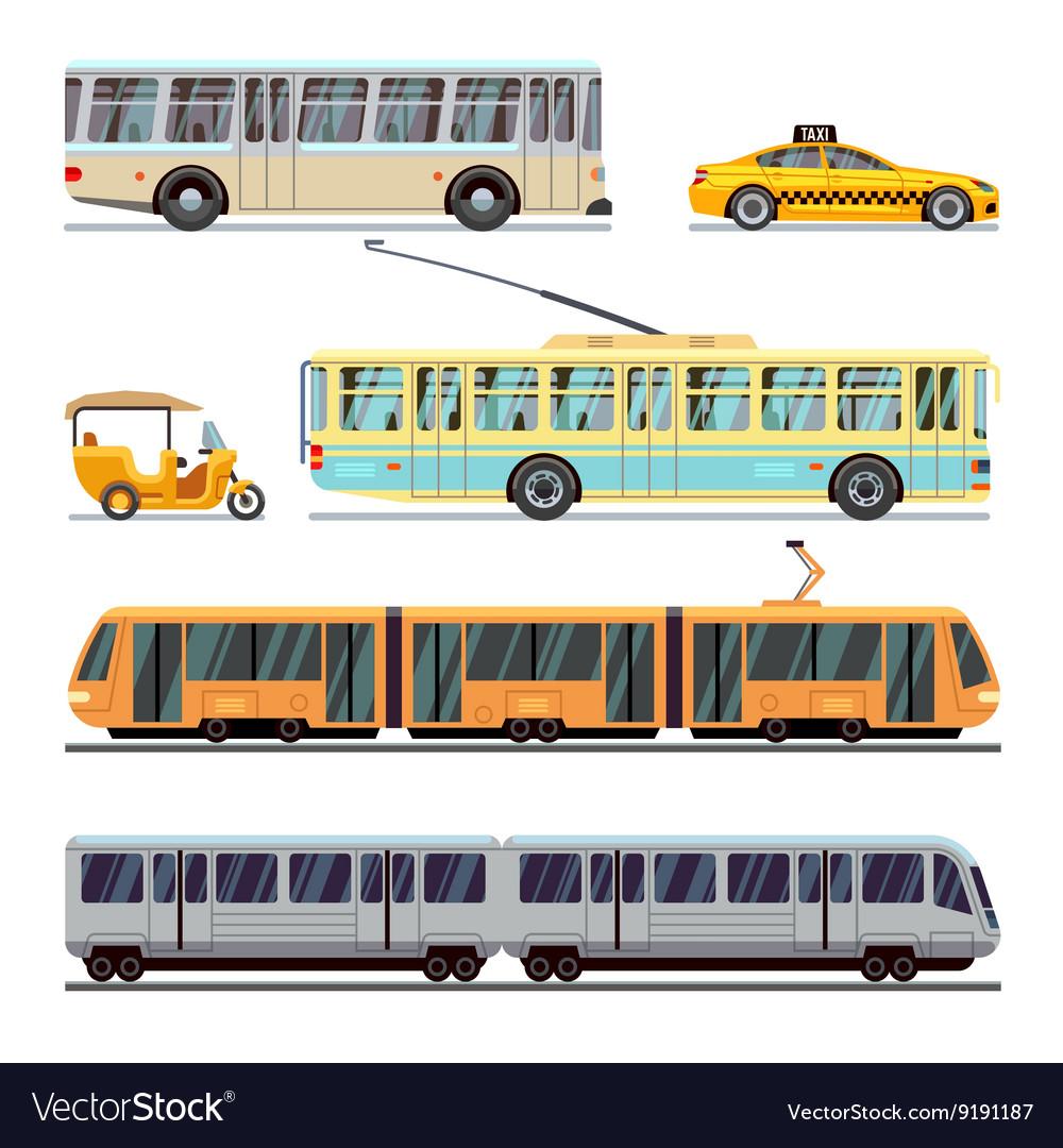 Municipal city transport flat icons set