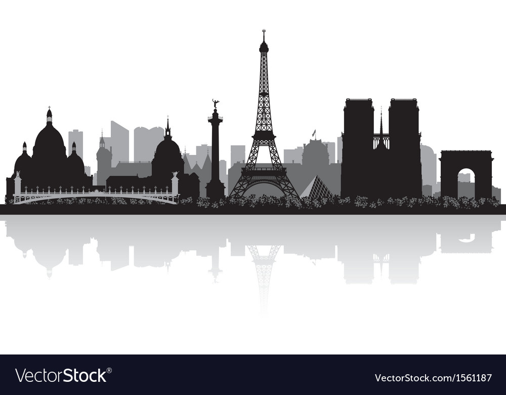 Paris France city skyline silhouette