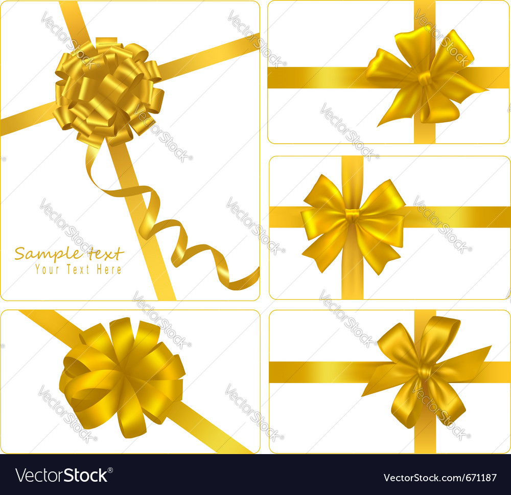 Set of gold gift bows with ribbons