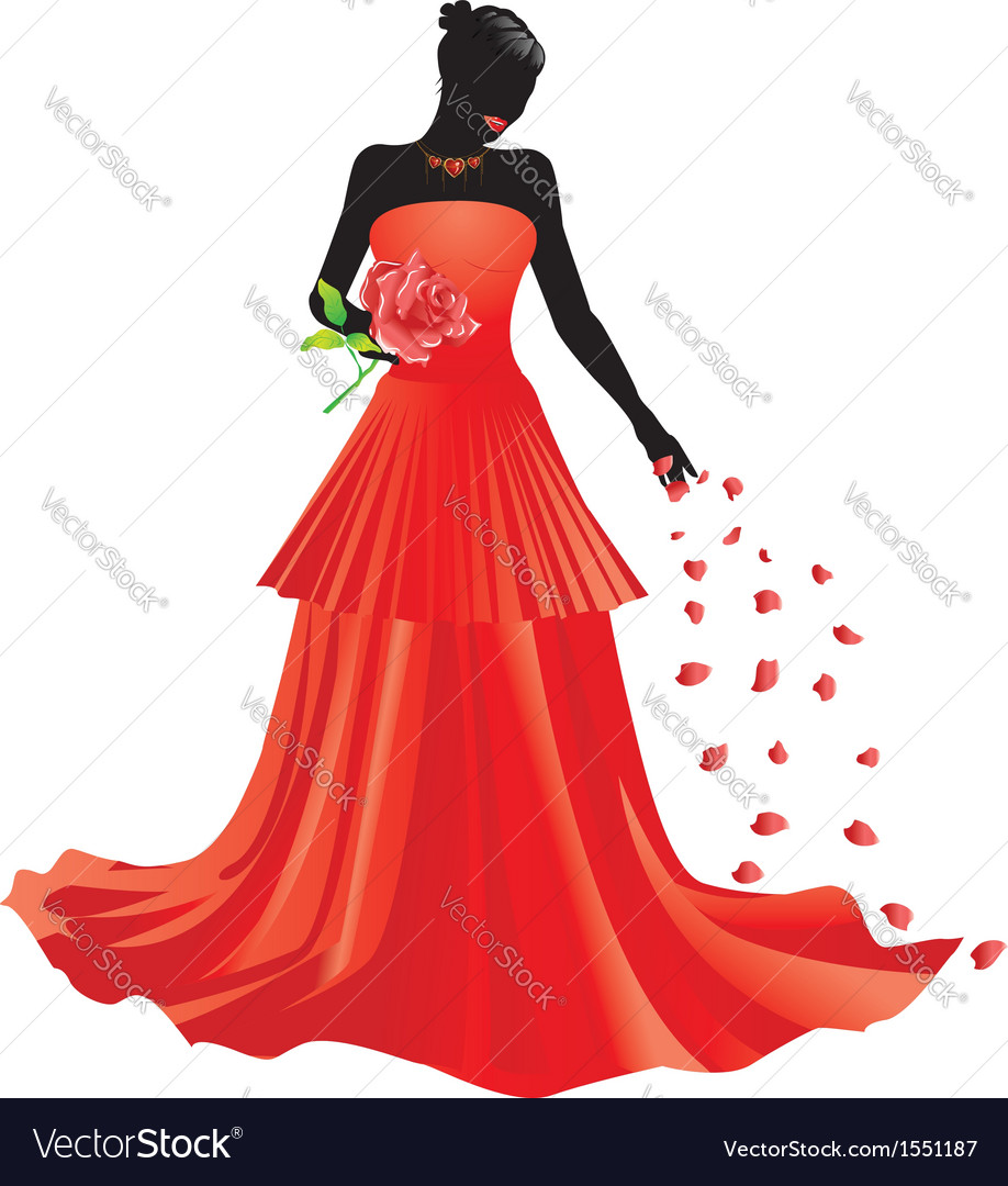 Silhouette of girl with rose