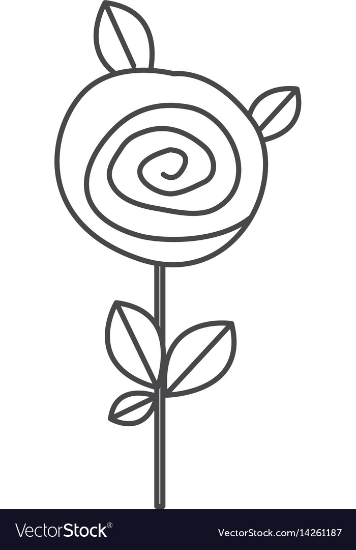 Silhouette sketch rose with leaves and stem