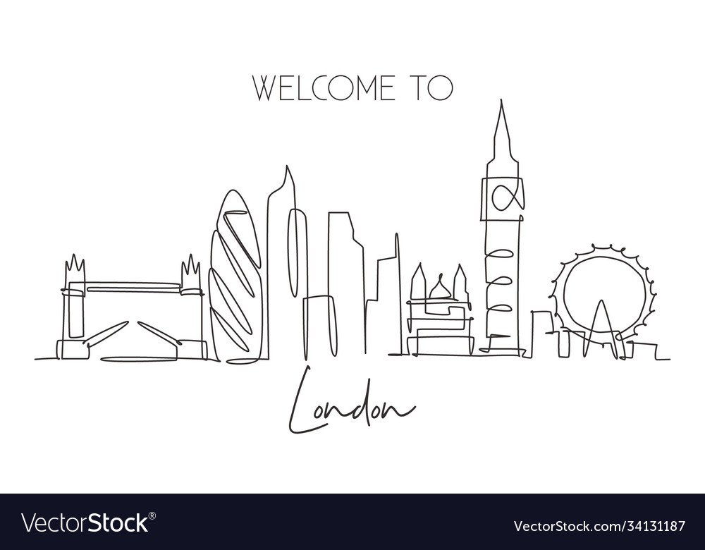 Single continuous line drawing london city