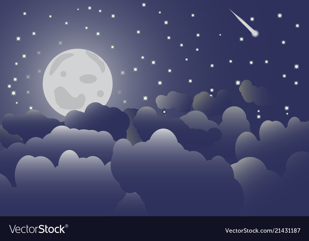 The moon in the night sky and clouds