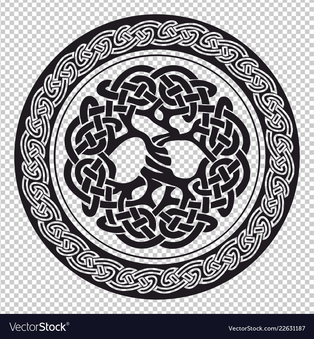 Tree Of Life Pagan Symbol In A Round Frame Vector Image