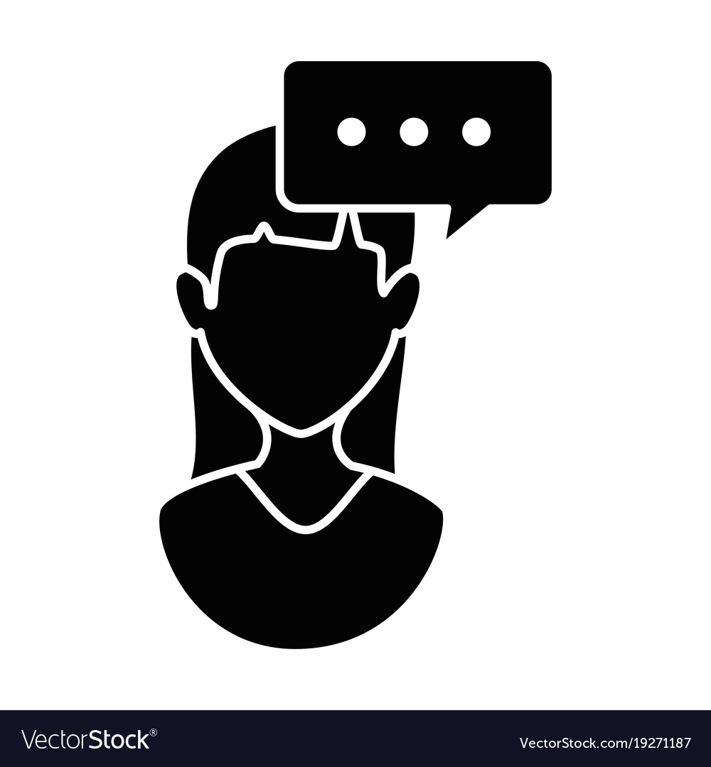 Woman profile with speech bubble