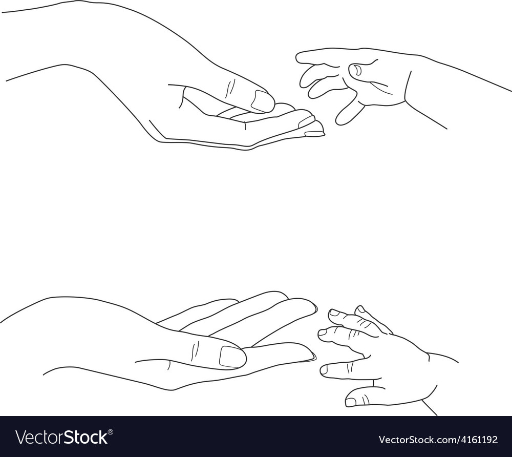 Babys hand reaching up to its mothers palms