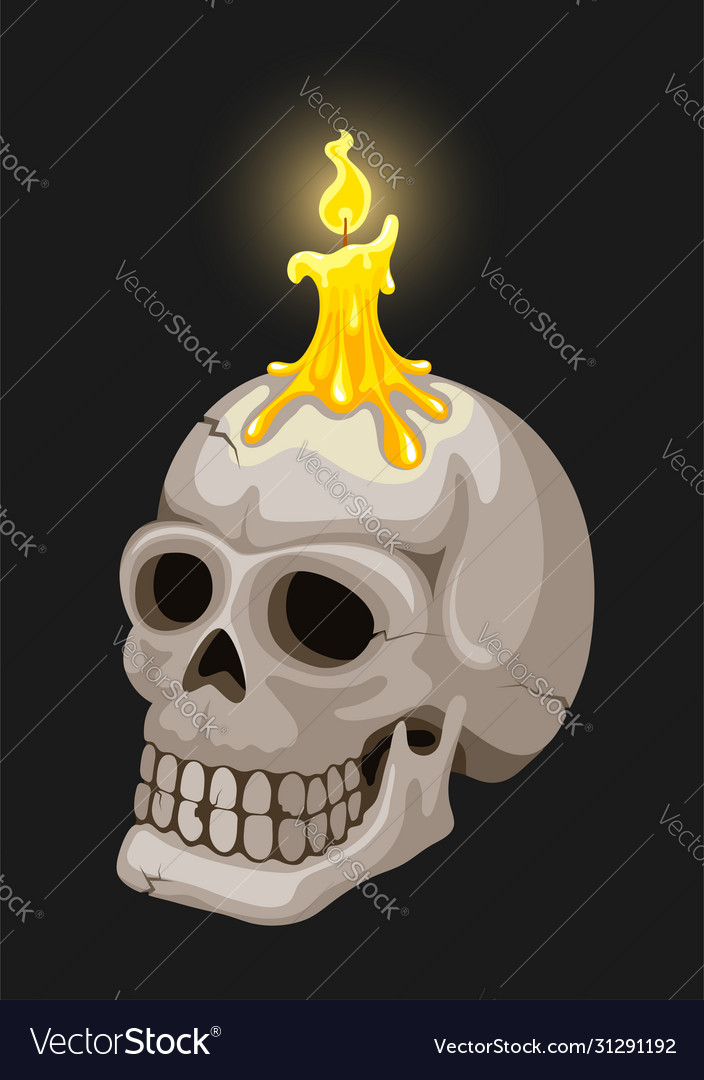 Burning candle on candlestick in skull form