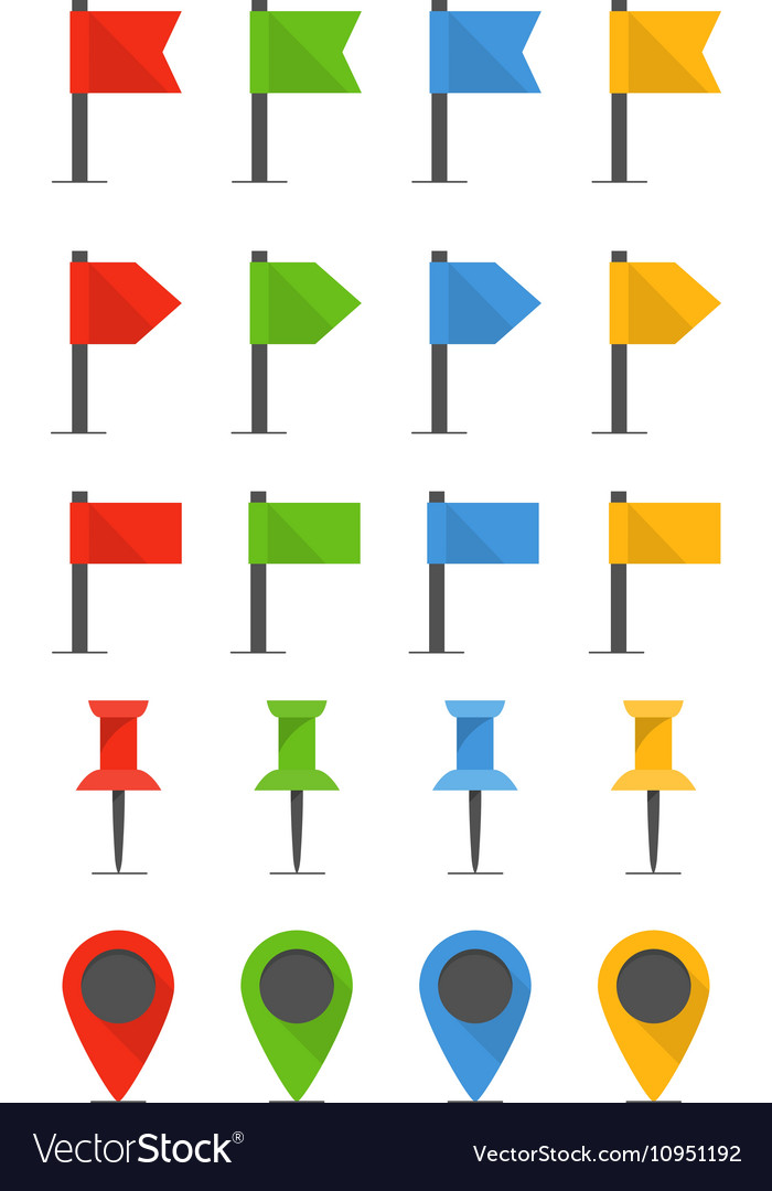 Color pins and flags collection