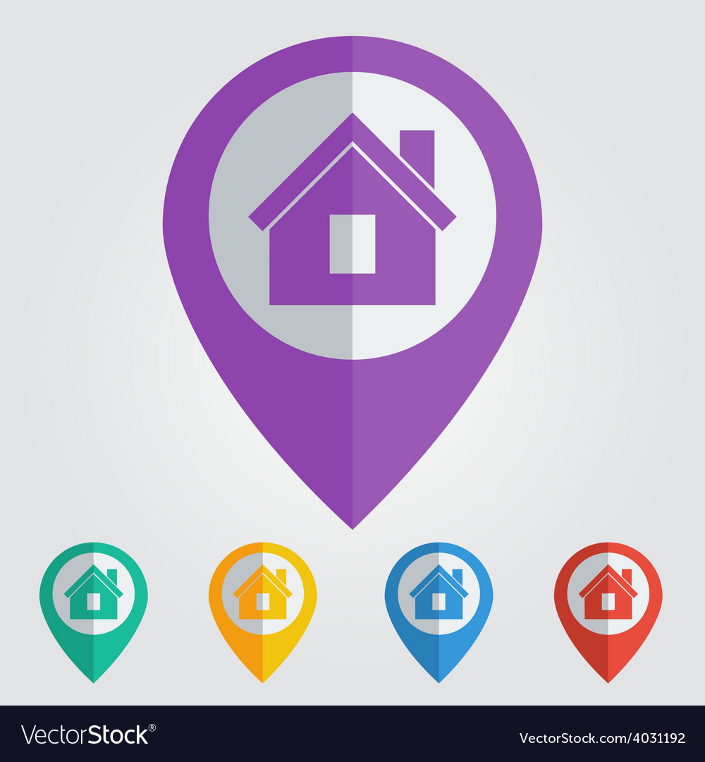 Flat pin with home icon