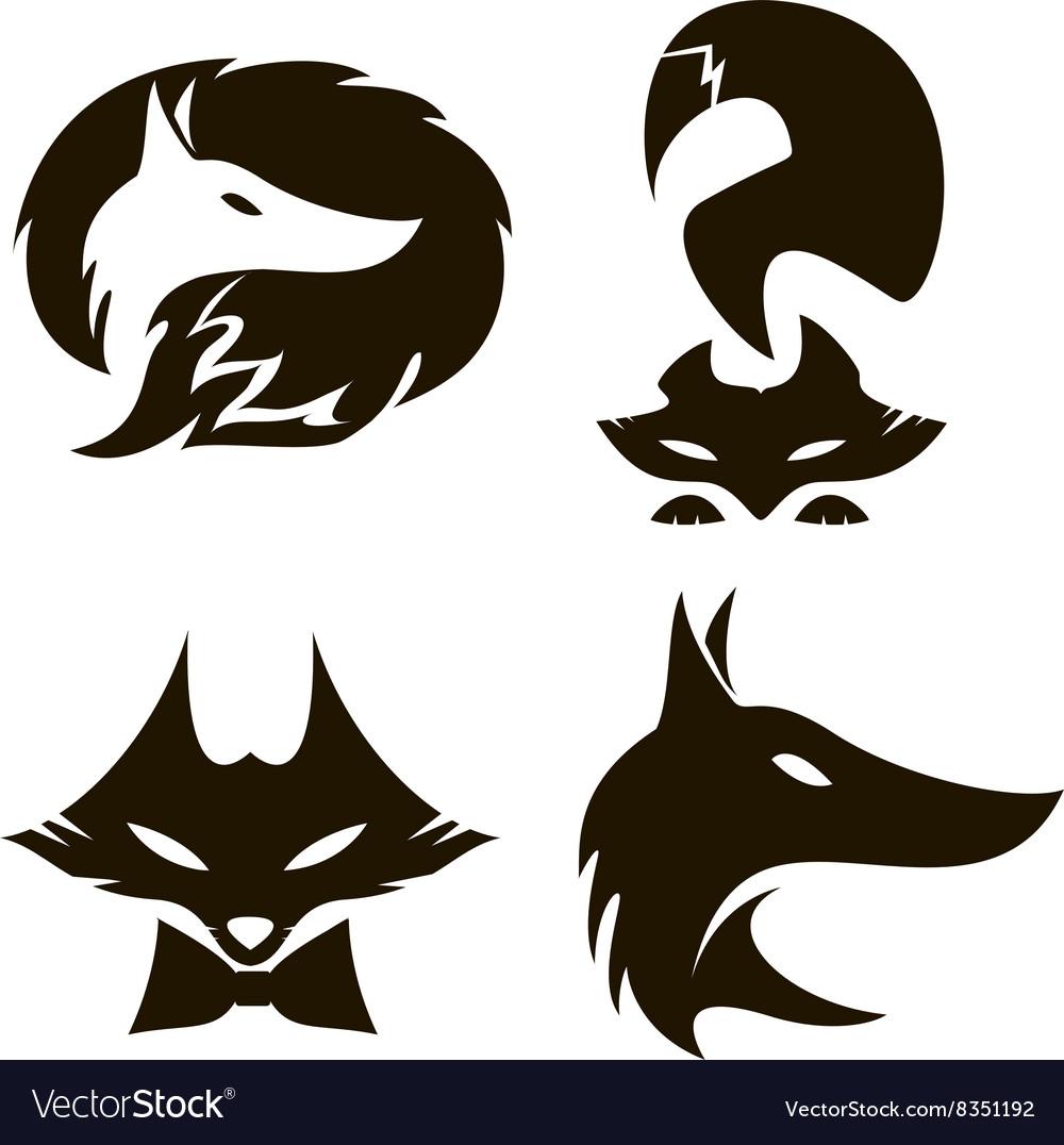 Fox set of silhouettes
