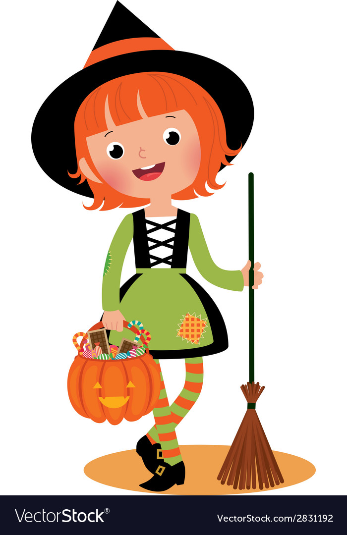 Halloween witch on a white background