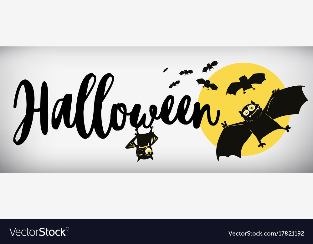 Happy halloween banner comical bat