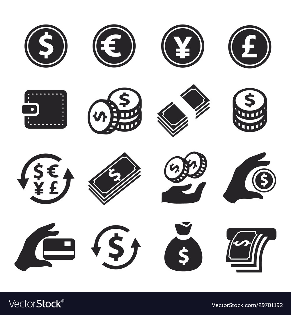 Money icons set hand with coins credit card
