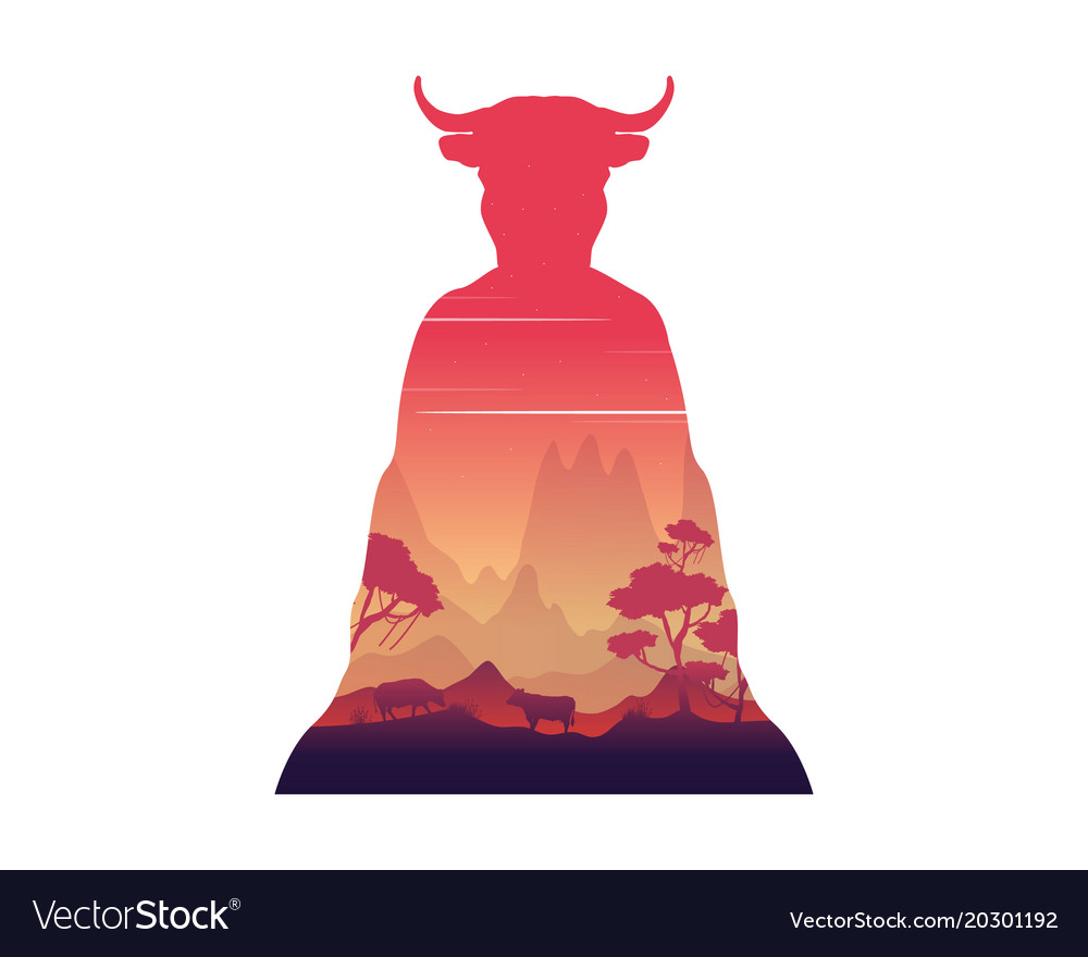 Silhouette of inside cow at sunset landscape