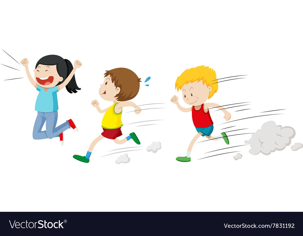 Two boys running in a race Royalty Free Vector Image