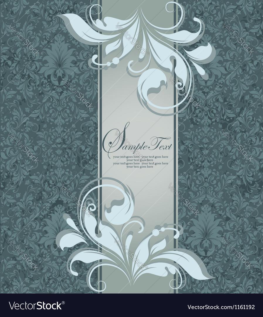 Vintage blue damask invitation with floral element