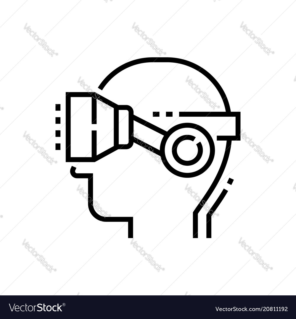 Virtual reality glasses on head - line design