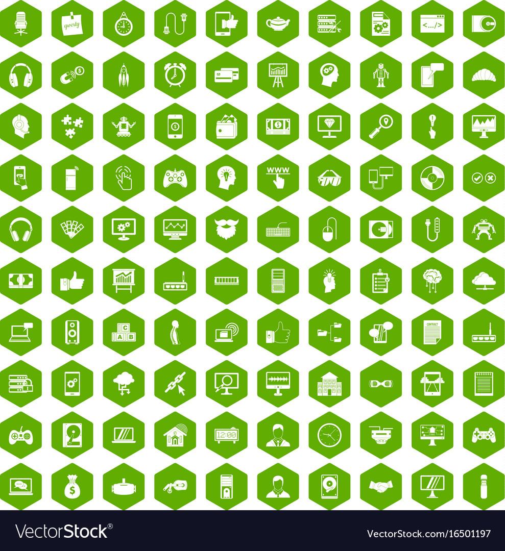 100 programmer icons hexagon green