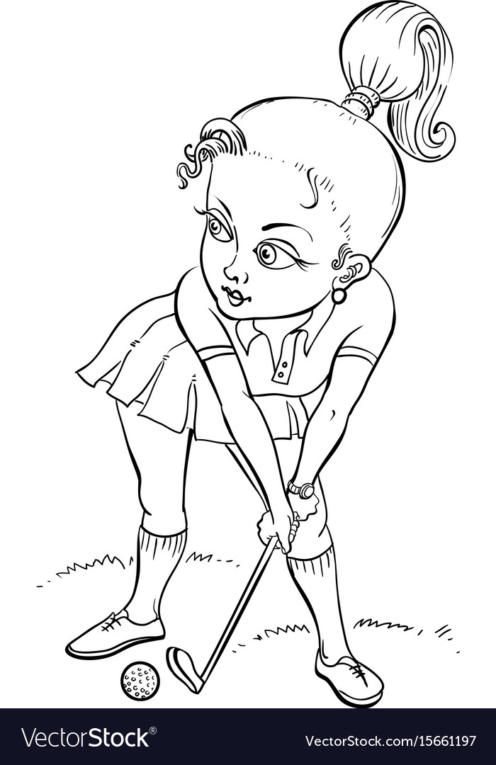 Cartoon image of woman playing golf