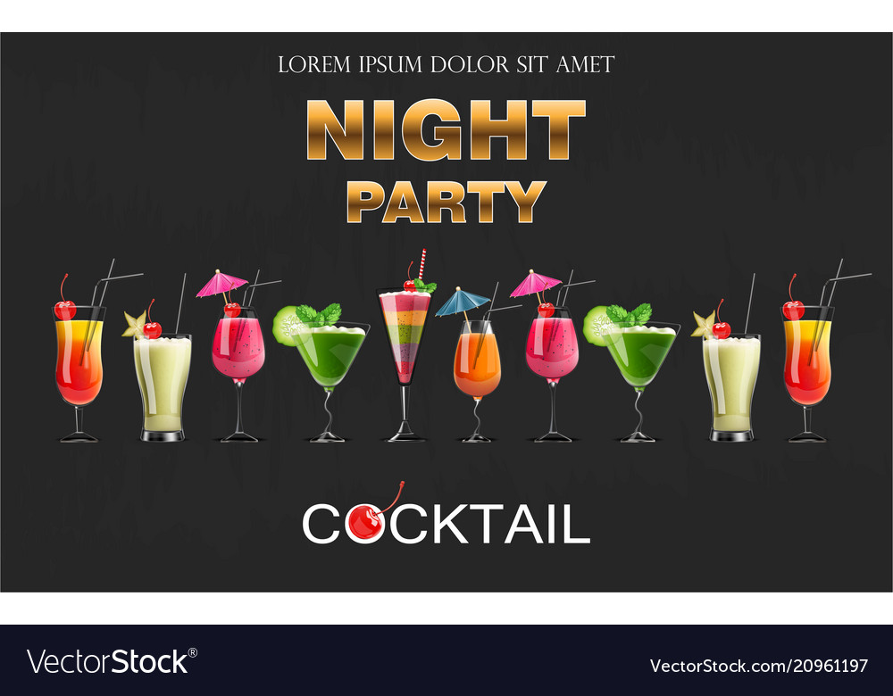 Cocktail drinks realistic banner night