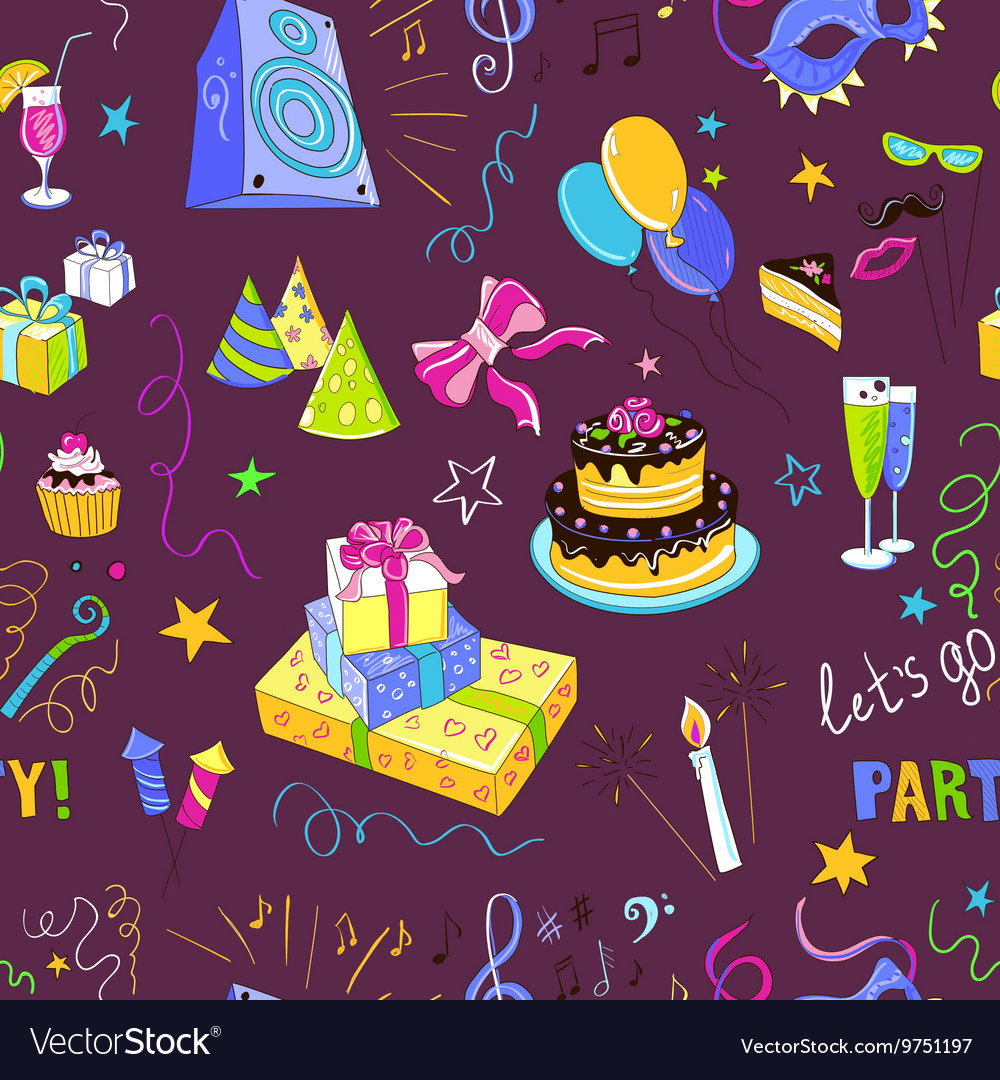 Colored hand-drawn party icon pattern