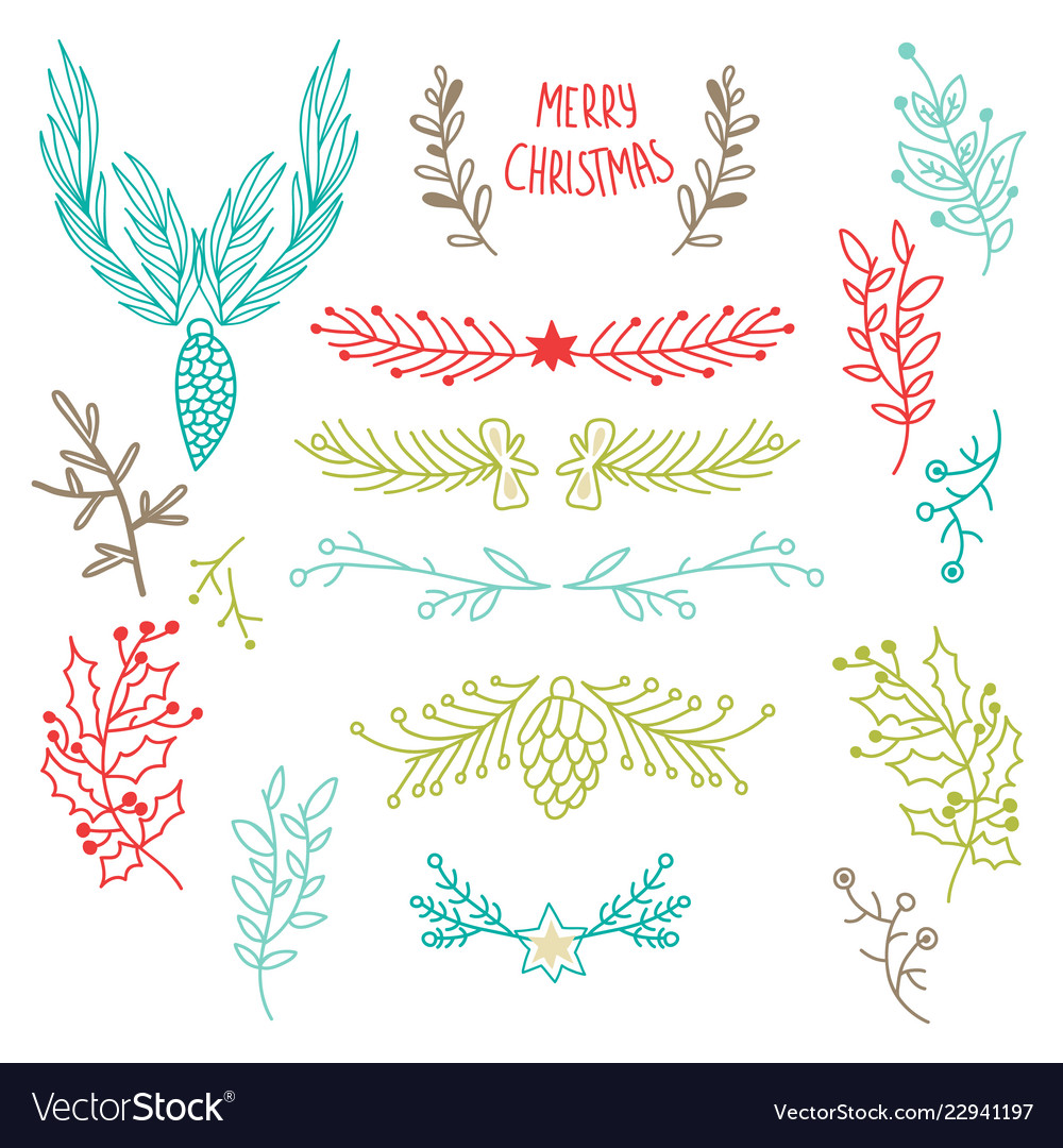 Colorful winter holidays botanical template