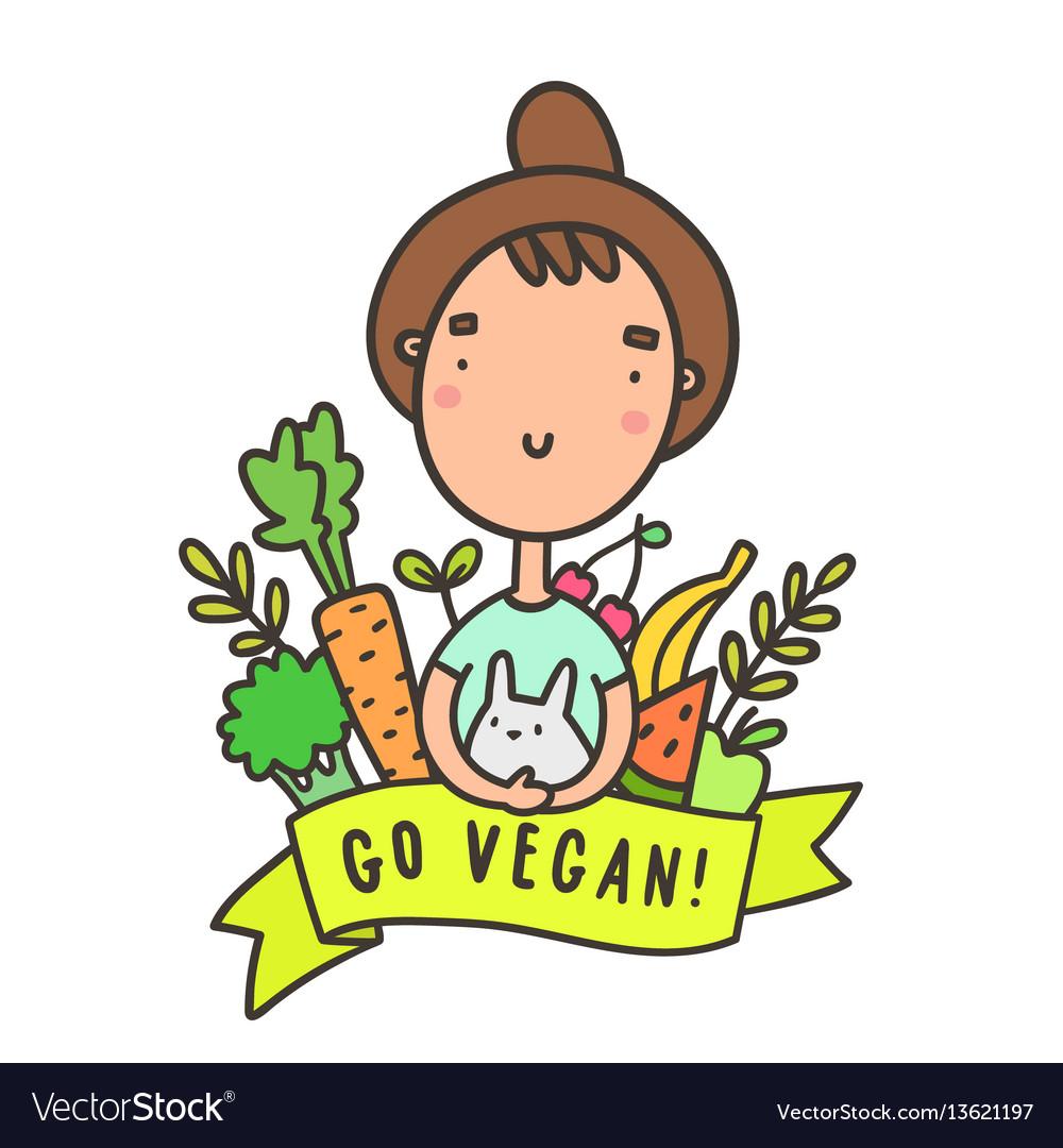 Cute funny girl with rabbit go vegan