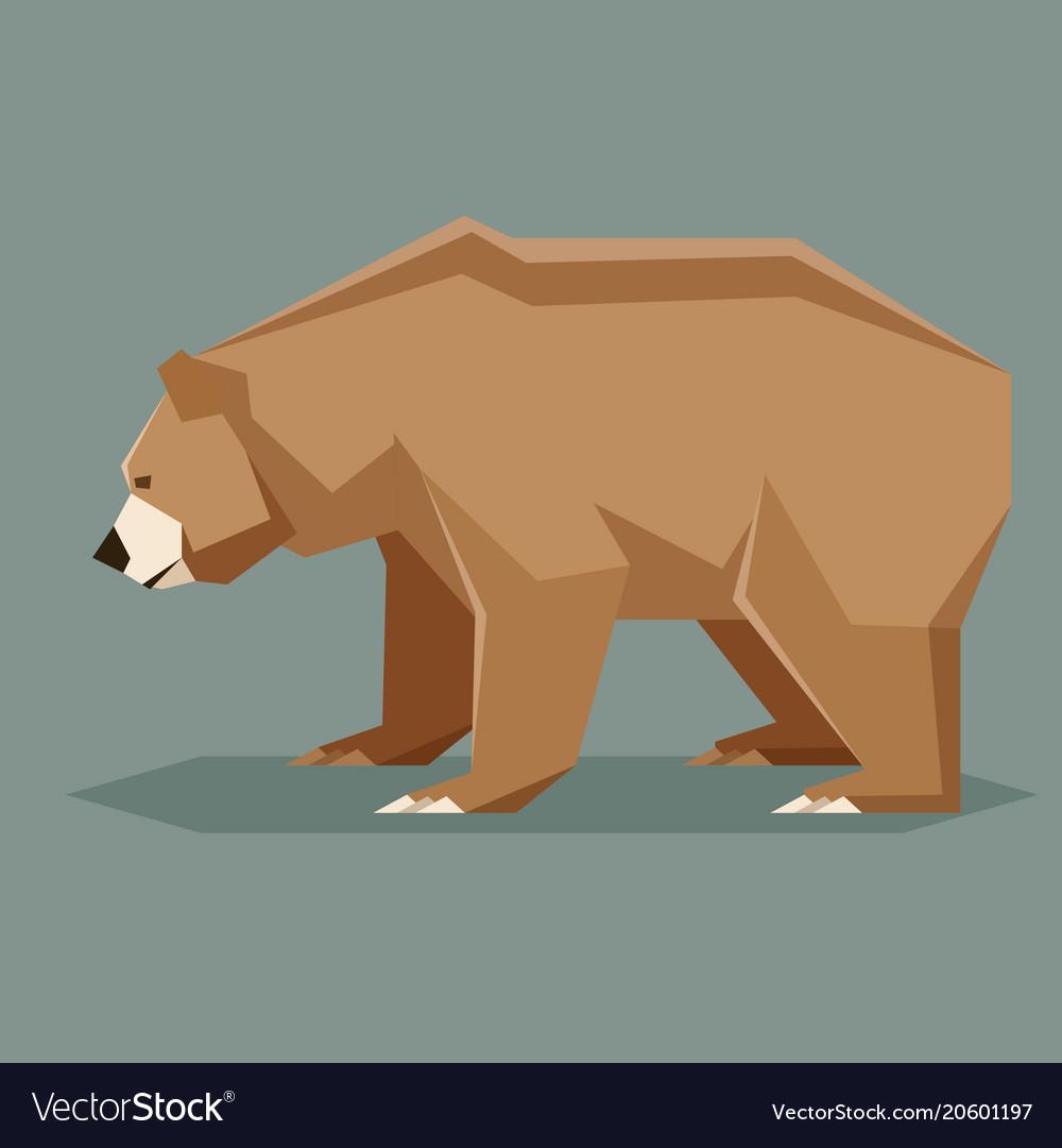 Flat polygonal brown bear