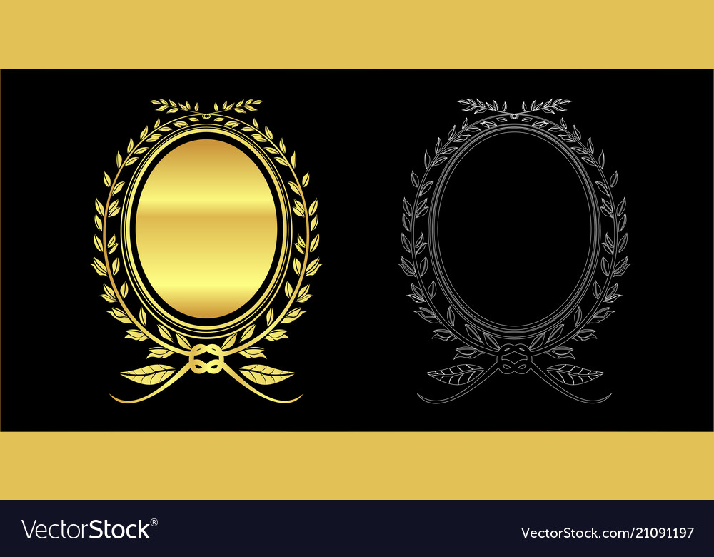 Gold color and out line leaves frame