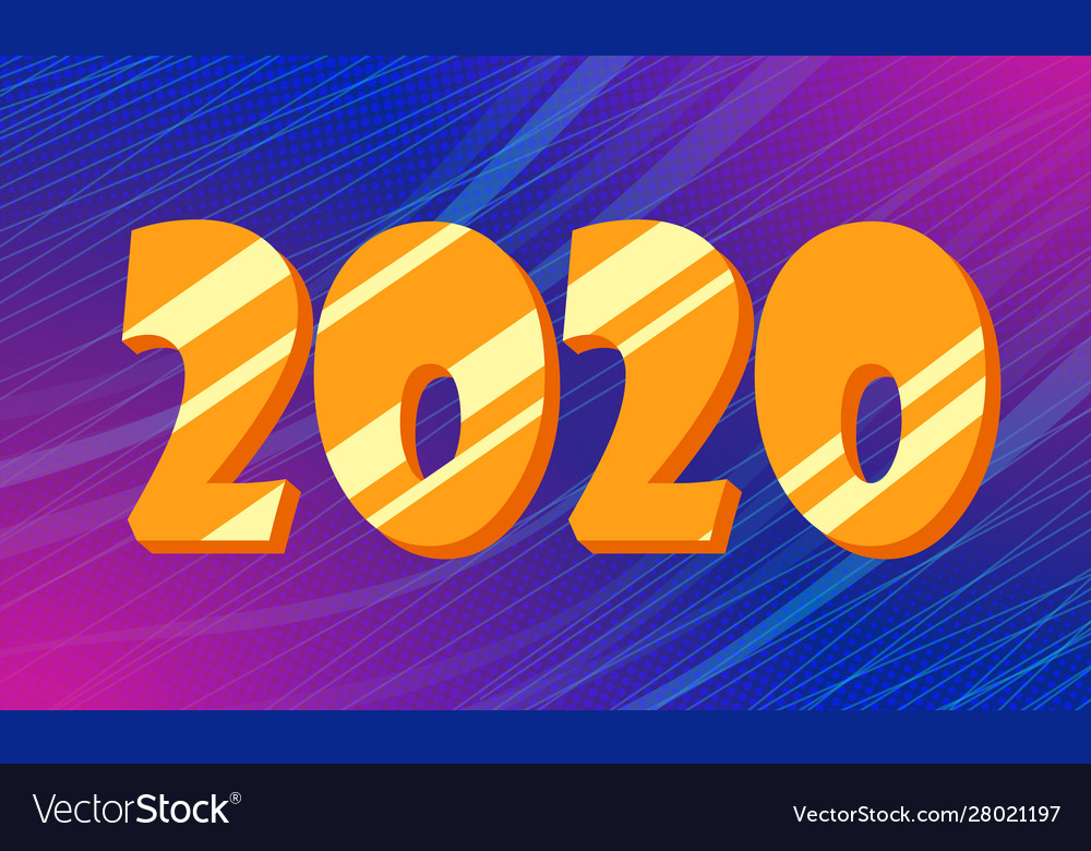 Golden 2020 new year blue background