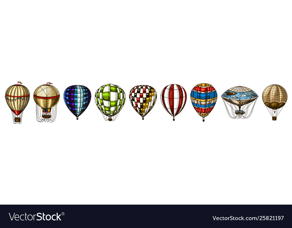 Hot air balloons retro flying airships
