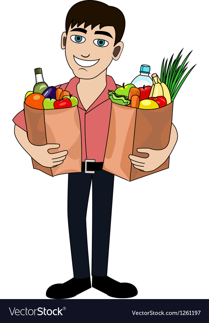 Man with food vector image