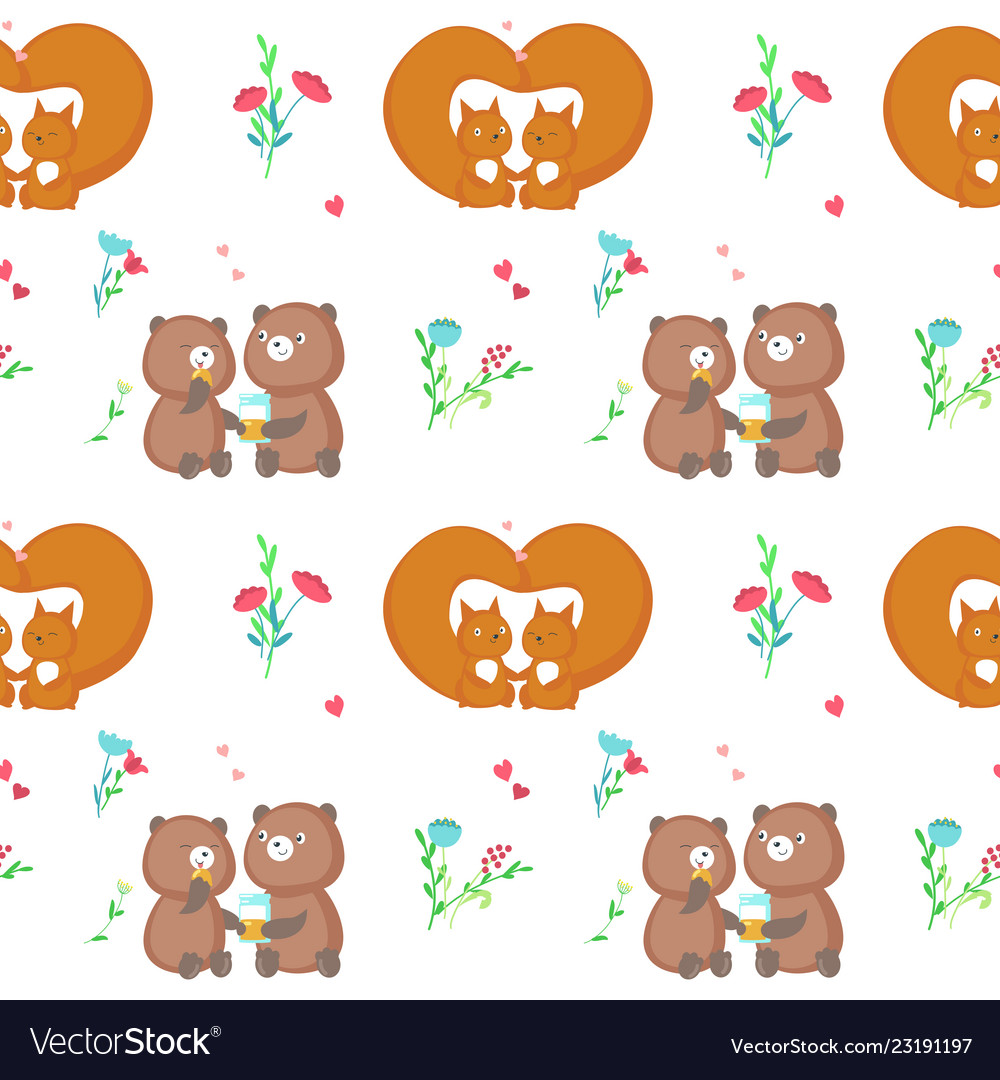 Seamless pattern with cute animals couples