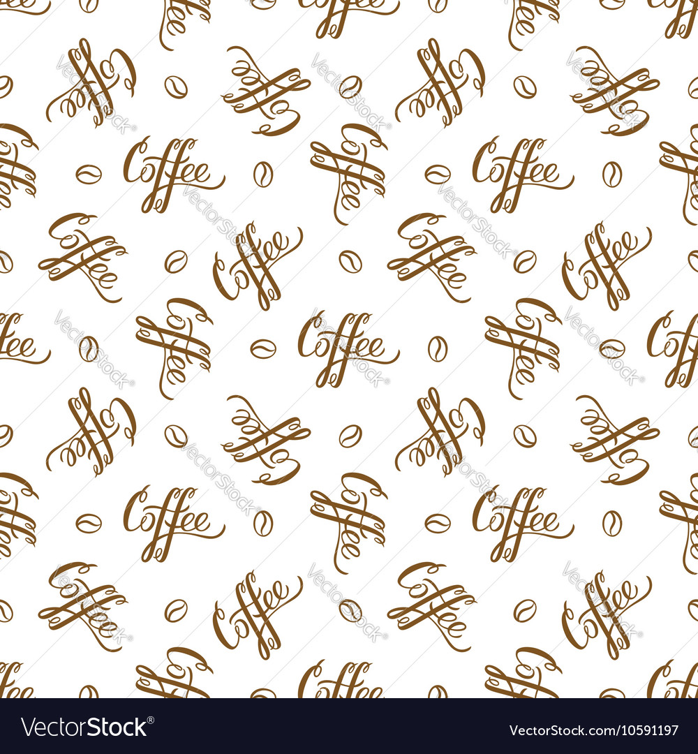 Seamless pattern with handrawn lettering Coffee