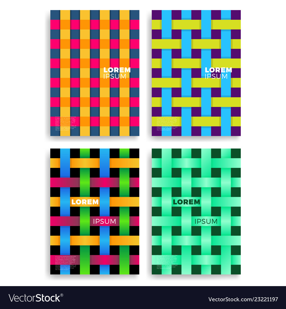 Set abstract cards with layers overlap