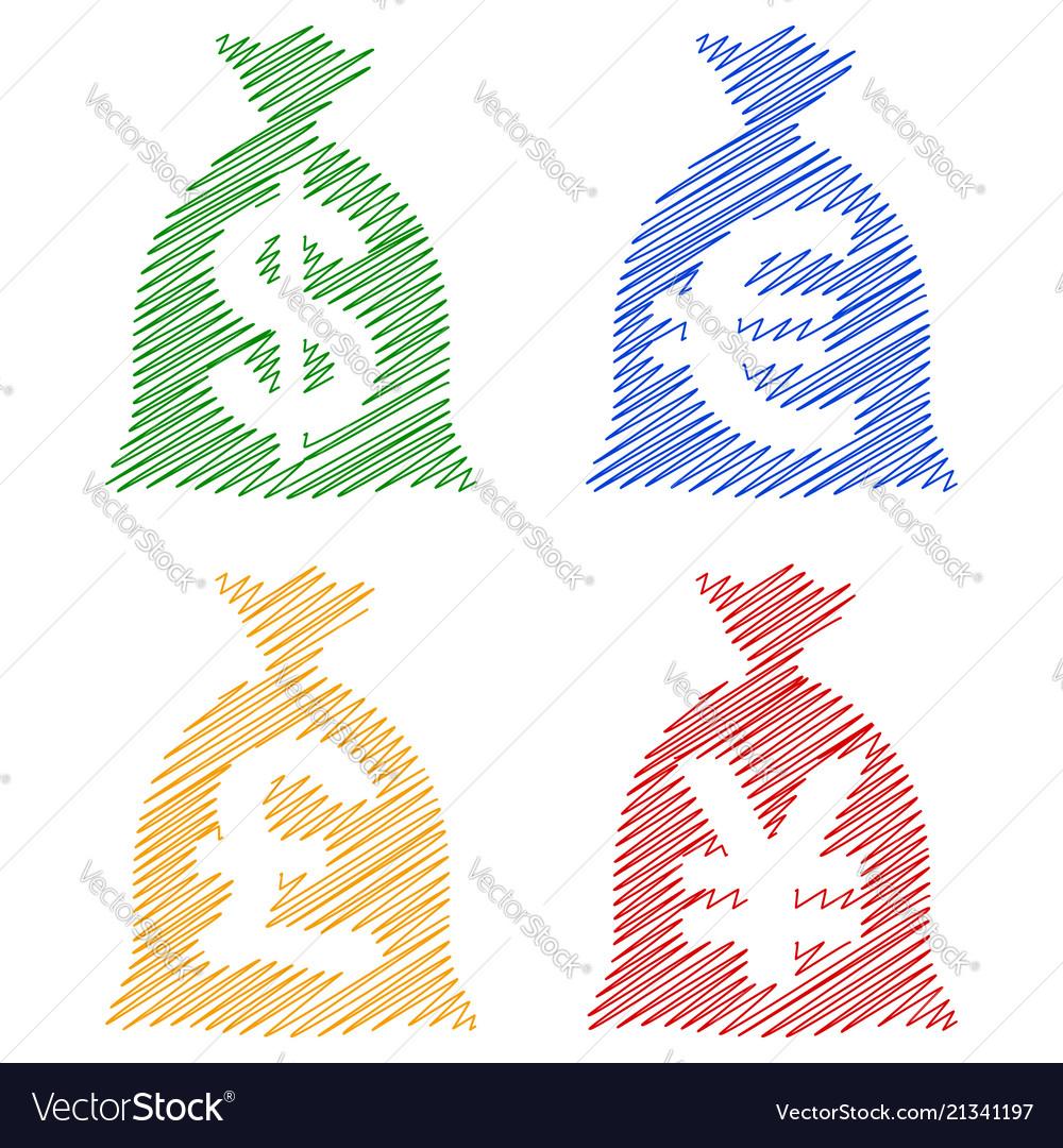 Set Currency Sack Dollar Usd Eur Gbp Jpy Hatch Vector Image