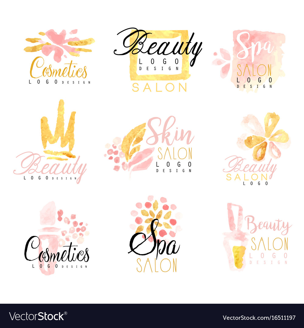 Spa healthy beauty studio set for label design