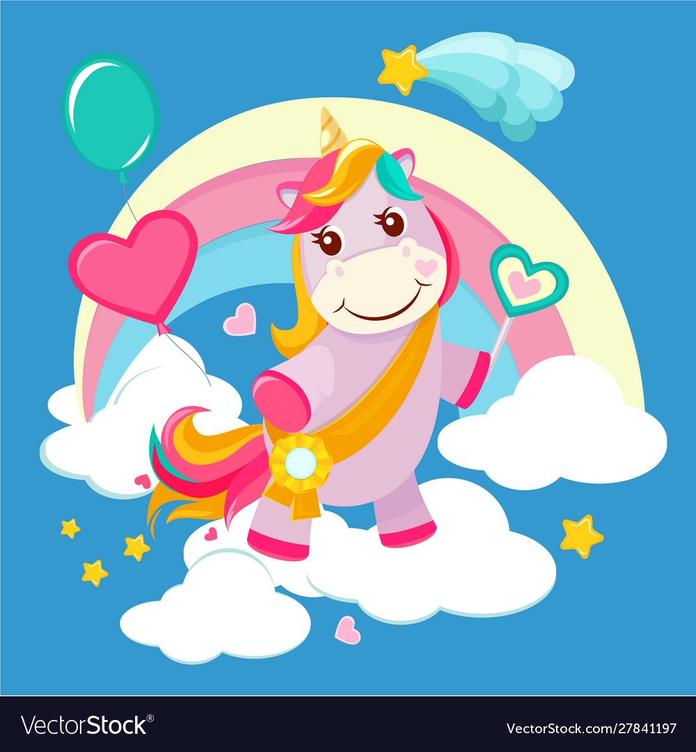 Unicorn background fairy tale cute little horse