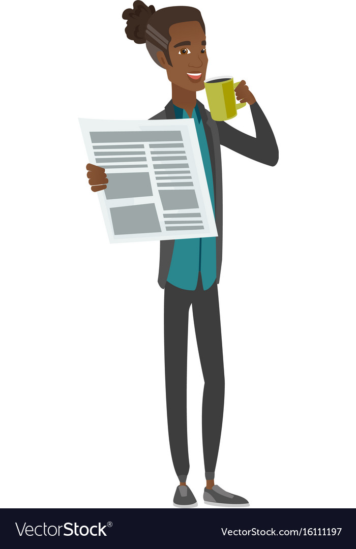 Young man drinking coffee and reading newspaper vector image