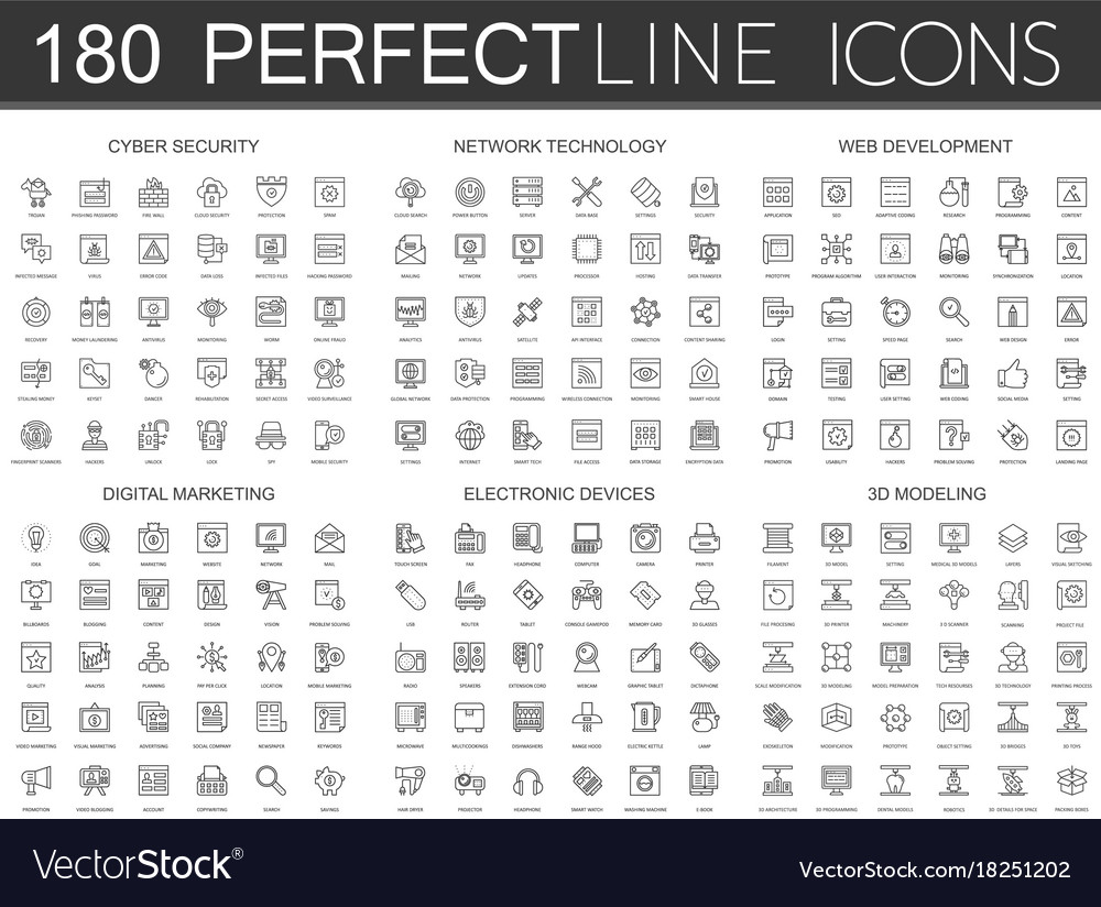 180 modern thin line icons set of cyber security