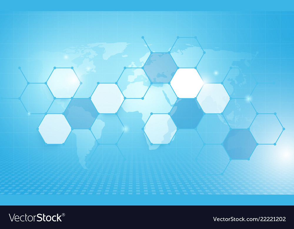 Abstract geometric hexagon pattern and wold map