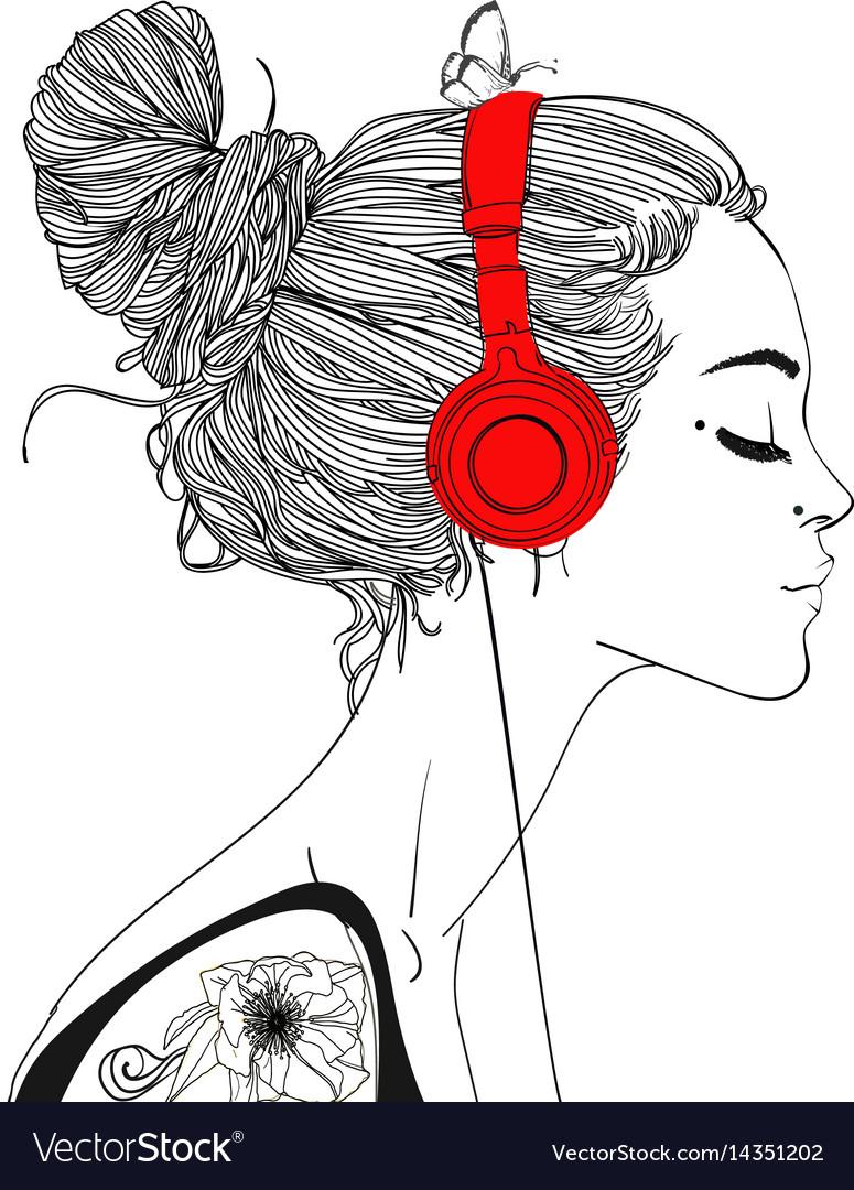 Beautiful girl with headphones vector image