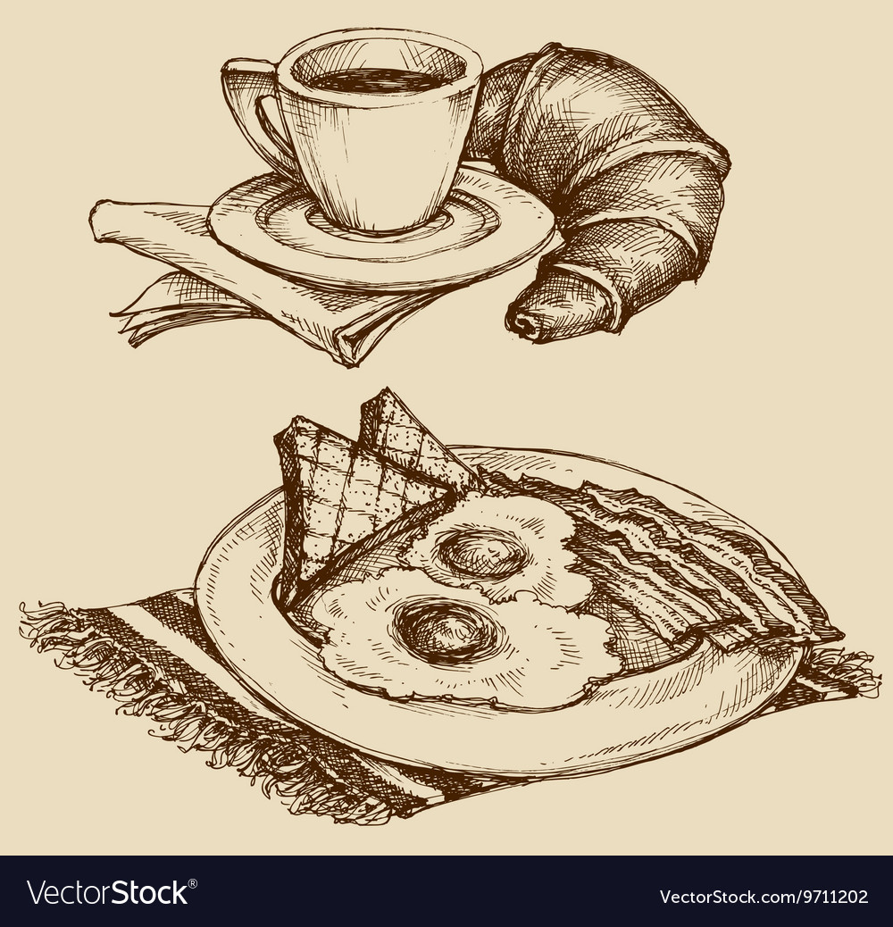 Breakfast food coffee and croissant ham and eggs vector image