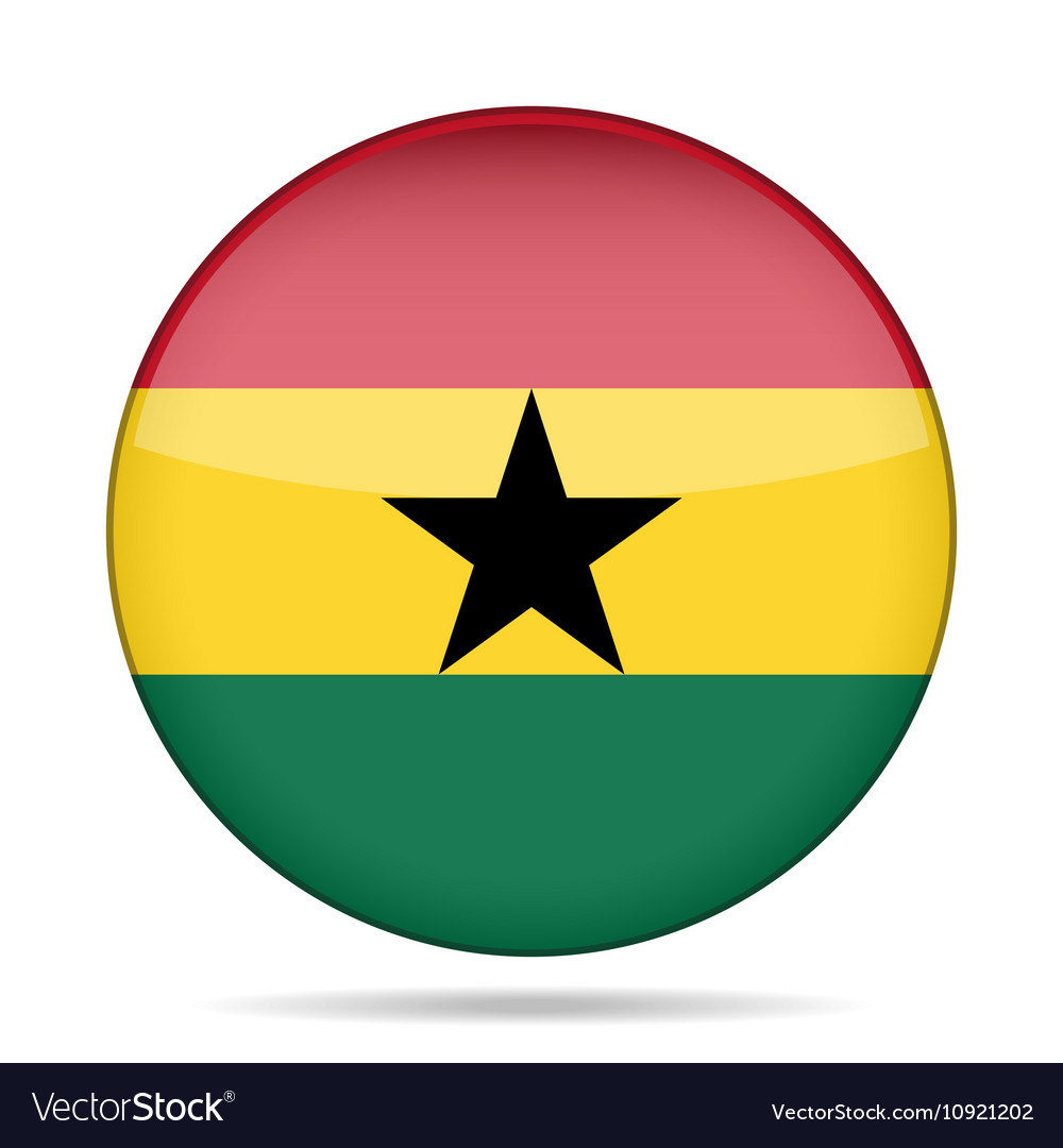 Button with flag of Ghana vector image