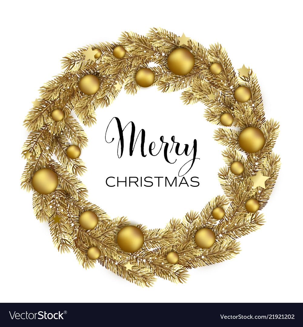 Gold Christmas Wreath.Christmas Wreath With Gold Pine Branches