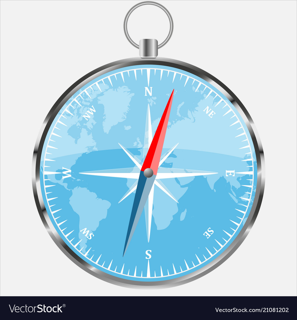 Compass with blue world background realistic vect